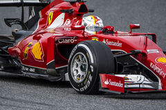 Fahrer Sebastian Vettel Team Ferrari Lizenzfreie Stockfotos
