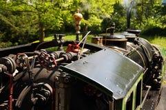 Fahrerhaus eines historischen Dampfzugs Stockbild