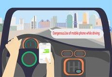 Fahrerholding Smartphoneuhr-Schwätzchen App lizenzfreie abbildung