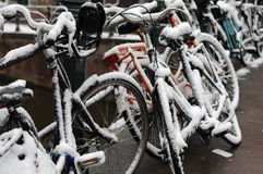 Fahrräder auf dem Winter Stockbild