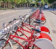 Fahrräder in Barcelona Stockbild