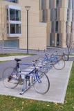 Fahrräder in der Fahrradzahnstange Stockfotografie