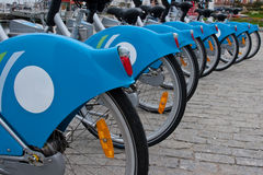 Fahrräder in einer Reihe Stockfoto