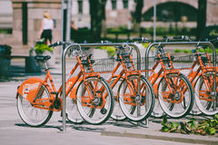 Fahrräder für Miete Stockbilder
