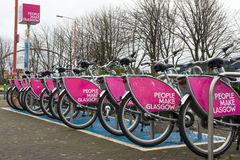 Fahrräder für Miete Glasgow Lizenzfreies Stockbild