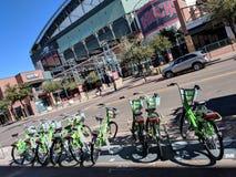Fahrräder für Miete, Phoenix-Stadtzentrum, AZ stockbild