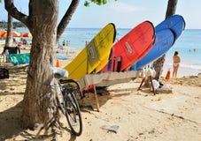 Fahrräder und Surfbretter Lizenzfreies Stockbild