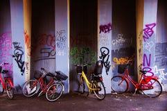 Fahrräder unter der Autobahnbrücke Stockbild