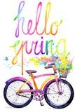 Fahrrad Aquarellfahrrad- und -blumenhintergrund Hallo Frühlingsaquarelltext Lizenzfreies Stockfoto