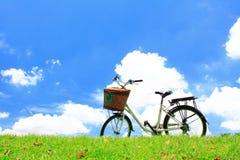 Fahrrad auf dem grünen Gras Lizenzfreie Stockbilder