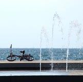 Fahrrad auf dem Ufer Stockfotografie