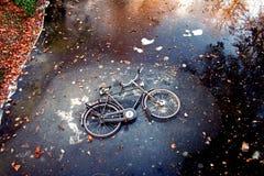Fahrrad auf Eis Stockbild