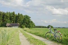 Fahrrad auf grünem Weizenbauernhof im Bayern. Lizenzfreies Stockbild