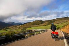 Fahrrad, das in Spanien bereist Stockfoto