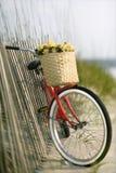 Fahrrad, das am Zaun sich lehnt lizenzfreie stockfotografie