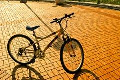 Fahrrad in der Ziegelsteinstraße Stockfotografie