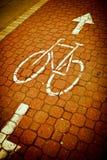 Fahrrad/einen.Kreislauf.durchmachenweg in einer Stadt Lizenzfreies Stockbild