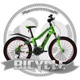 Fahrrad einer bestimmten Art, auf symbolischem Hintergrund lizenzfreie abbildung