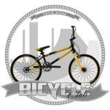 Fahrrad einer bestimmten Art, auf symbolischem Hintergrund Stockbilder