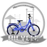 Fahrrad einer bestimmten Art, auf symbolischem Hintergrund Stockbild