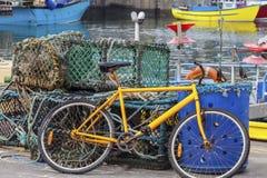 Fahrrad an Fraserborough-Hafen Lizenzfreies Stockbild