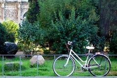Fahrrad im im Stadtzentrum gelegenen Grünstreifen lizenzfreies stockfoto