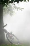Fahrrad im Nebel Stockbild