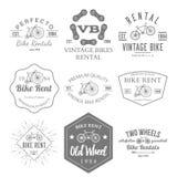 Fahrrad-Mietaufkleber und Ausweis-Design Vektor Lizenzfreie Stockfotos