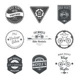 Fahrrad-Mietaufkleber und Ausweis-Design Vektor Stockfoto