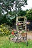 Fahrrad mit Blumen im Garten Stockfotos