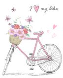 Fahrrad mit einem Korb voll von Blumen auf Hintergrund mit Schmetterlingen und Aufschrift liebe ich mein Fahrrad vektor abbildung