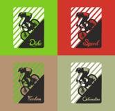 Fahrrad- oder Reitervektorgraphiksatz Stockfotografie