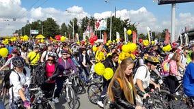 Fahrrad-Parade September 2015 stock footage