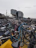 A bike parking in the near of train station of Amsterdam royalty free stock photos