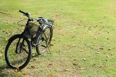 Fahrrad parkte auf dem Grasfeld Stockfotos