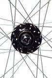 Fahrrad-Speichen und Nabe Stockfotos