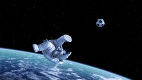 Fahrrad-Tritt, Astronaut Shoots auf Ziel im Weltraum stock footage