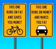 Fahrrad und Auto Stockfoto
