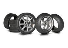 Fahrrad-und Auto-Reifen Stockfotos