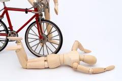 Fahrrad- und Personenzusammenstoßunfall Stockbild