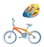 Fahrrad und Sturzhelm. Lizenzfreies Stockfoto