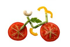 Fahrrad vom unterschiedlichen Gemüse stockbilder