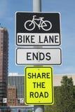 Fahrrad-Weg beendet Zeichen Stockfotografie