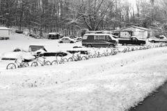 Fahrrad-Zaun im Winter Lizenzfreie Stockbilder