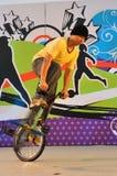 Fahrradbremsung während der Jugendolympics-Zeichenprodukteinführung Stockbild