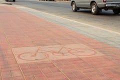 Fahrradfahrmarkierung Block in der Stadt Stockfotografie