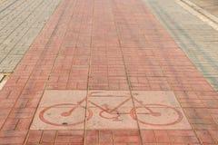 Fahrradfahrmarkierung Block in der Stadt Stockfoto