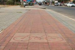 Fahrradfahrmarkierung Block in der Stadt Lizenzfreies Stockbild