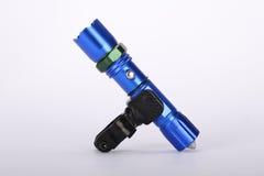 Fahrradgebrauch der Taschenlampen-Fackel blaues Metallim freien lizenzfreie stockfotos