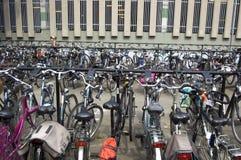 Fahrradhalter mit Fahrrädern Lizenzfreies Stockfoto